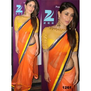 Bollywood Saree,partywear Saree Kareena Kapoor Orange Bollywood Replica Saree