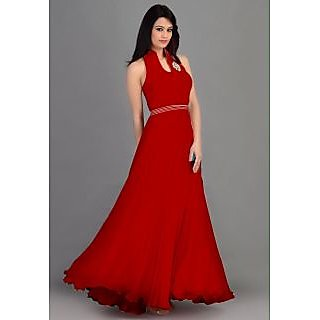 Crystal Fashion Red Faux Georgette Plain Anarkali Gown Dress Material