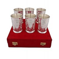 Exculsive Hand-e-Crafts Silver Plated Brass Glass Set Of 6 Pcs