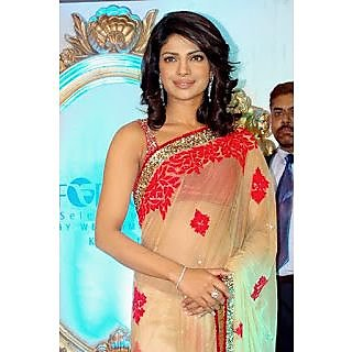 Bollywood Replica - Red And Beige Priyanka Chopra Saree