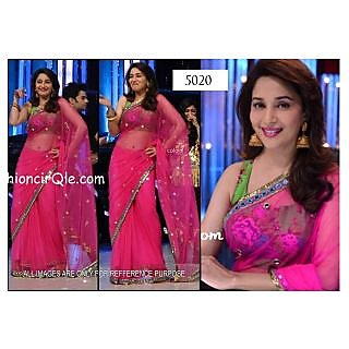 Bollywood Replica Saree Of Madhuri In Pink Colour