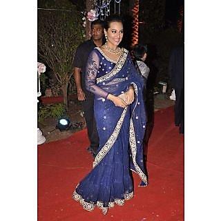 Bollywood Party Wear Sonaxi Sinha Blue Saree