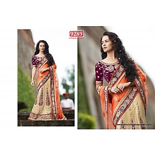 Beautiful Orange And Golden Color NET Embroidered Designer Lehenga