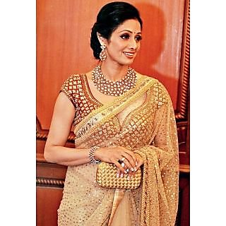 Bollywood Sarees: Sridevi In Gold And Red Traditional And Designer Sarees