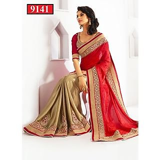 Indian Designer  Bollywood Replika Actress Prerna Golden & Red Sari Saree