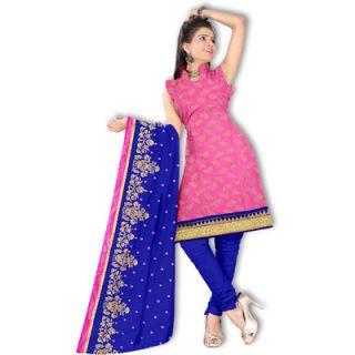 Pink Isha Jacquard Self Design Salwar Suit Dupatta Material