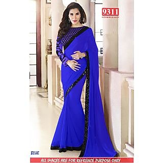 Stylish Blue Color Georgette Embroidered Worked  Designer Sarees