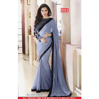 Stylish BLUISH GREY Color Georgette Embroidered Worked  Designer Sarees