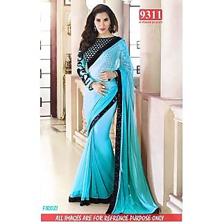 Stylish FIROZI Color Georgette Embroidered Worked  Designer Sarees