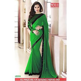 Stylish GREEN Color Georgette Embroidered Worked  Designer Sarees