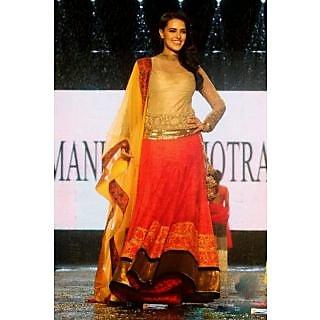 Neha Dhupia In Beautiful Orange And Yellow Velvet Lehenga