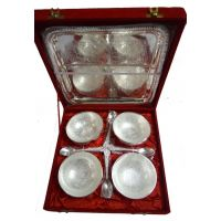 Silver Plated Brass Bowl With Tray Set Of 4 Pcs