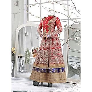 Beautiful Red Pure Georgette Embroidered Work Anarkali Suit-4094