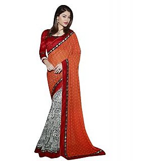 Royal Red Color Georgette Party Wear Saree