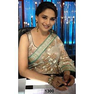 Bollywood Sarees: Designer Madhuri Dixit In Light Ivory Color Saree At Jhalak