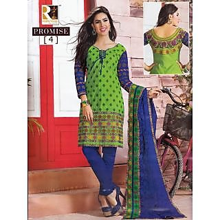 Promise Dresses - Green With Ink Blue Unstitched Suit With Dupatta