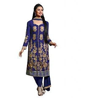 Majestic Blue Georgette Straight Salwar Kameez