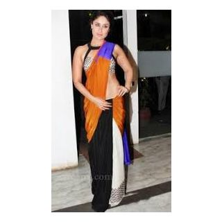 Richlady Fashion Kareena Kapoor Moss & Velvet Plain Multicolour Saree
