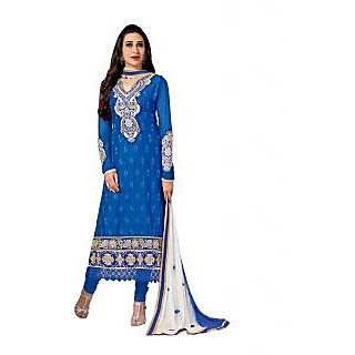 Royal Blue Glez Cotton Straight Salwar Kameez