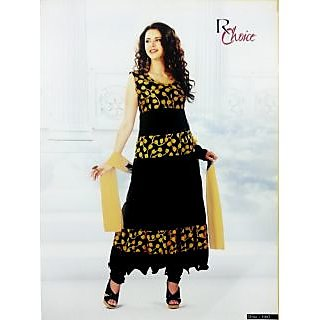 RChoice Fashion 1003 - Black Unstitched Suit With Dupatta