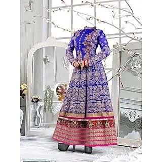 Beautiful Blue & Pink Pure Georgette Anarkali Semi Stitched Suit-4097