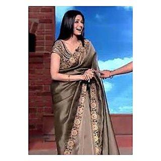 Richlady Fashion Sridevi Brocade Border Work Brown Saree