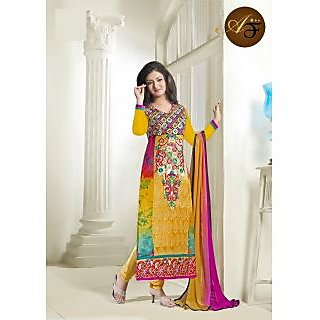 Atmiya Fashion Pure Georgette Yellow Color Very Attractive Look Long Dress