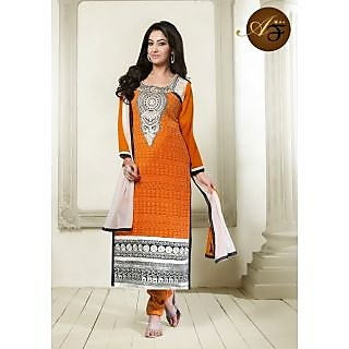 Atmiya Fashion Pure Georgette Orange Color Very Attractive Look Long Dress