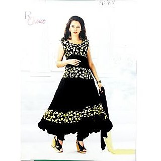 RChoice Fashion 1006 - Black Unstitched Suit With Dupatta