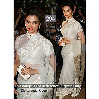 Dipika Off White Net Bollywood Designer Saree