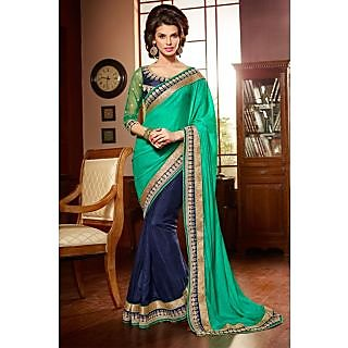 Lavish Green,Blue Resham Embroidery Chiffon Saree With Blouse