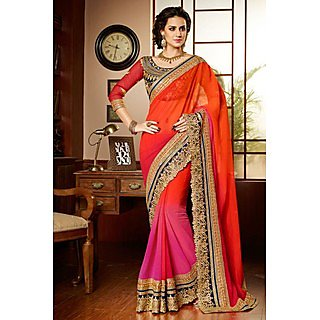 Classy Orange,Pink Resham Embroidery Chiffon Saree With Blouse
