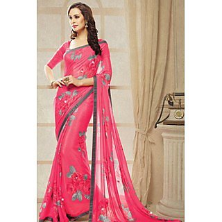Superb Pink Lace Border Georgette Saree With Blouse