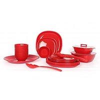Gluman Microwave Safe Dinner Set - 32 Pcs Square Red