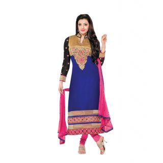 New Fancy Blue Straight Salwar Kameez