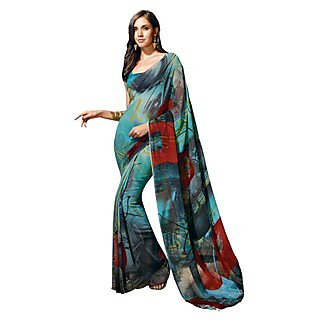 Colors Fashion Aqua Blue Faux Georgette Latest Designer Digital Printed Saree