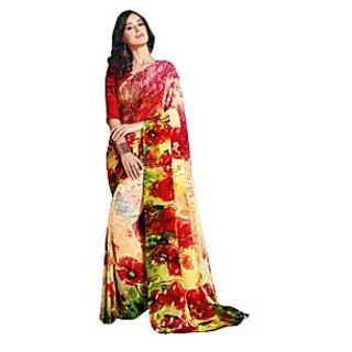 Colors Fashion Red And Yellow Faux Georgette Latest Designer Digital Printed Saree
