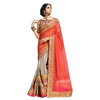 Colors Fashion Orange And Grey Net Latest Designer Party Wear Heavy Work Saree