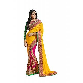 Colors Fashion Yellow And Pink Faux Georgette Latest Designer Party Wear Heavy Work Saree