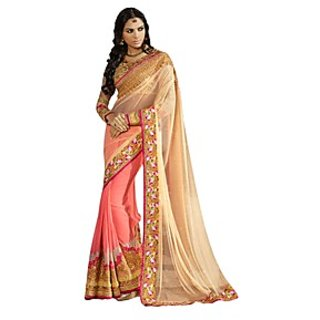 Colors Fashion Pink And Beige Net Latest Designer Party Wear Heavy Work Saree