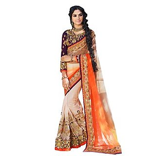 Colors Fashion Orange And Beige Faux Georgette Latest Designer Party Wear Heavy Work Saree