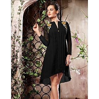Magnum Opus Store Black Color Poly Georgette Kurti.