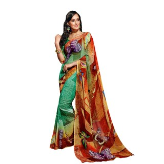 Colors Fashion Green And Red Faux Georgette Latest Designer Digital Printed Saree