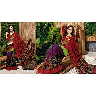Colors Fashion Multicolor Faux Georgette Latest Designer Digital Printed Saree - 74922632