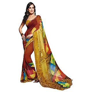 Colors Fashion Brown And Yellow Faux Georgette Latest Designer Digital Printed Saree