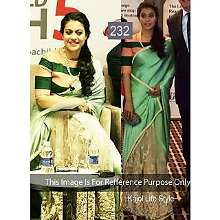 Kajol Graceful Green Embroidery Work Bollywood Saree