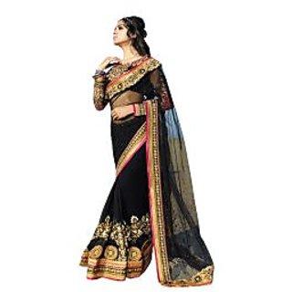 Colors Fashion Black Net Latest Designer Party Wear Heavy Work Saree