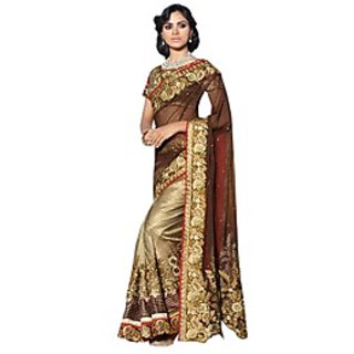Colors Fashion Maroon And Beige Net Latest Designer Party Wear Heavy Work Saree