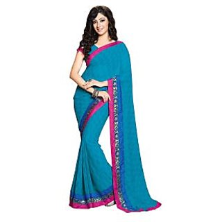 Colors Fashion Blue Chiffon Latest Designer Fancy Printed Saree - 74922714