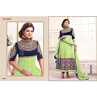 Green And Blue Un-stitched Anarkali Suit With Fancy Embroidery Work-1604